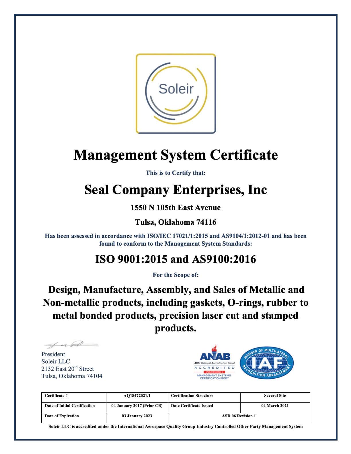 Seal Company Enterprises Inc 2021 AS9100 Management System Certificate